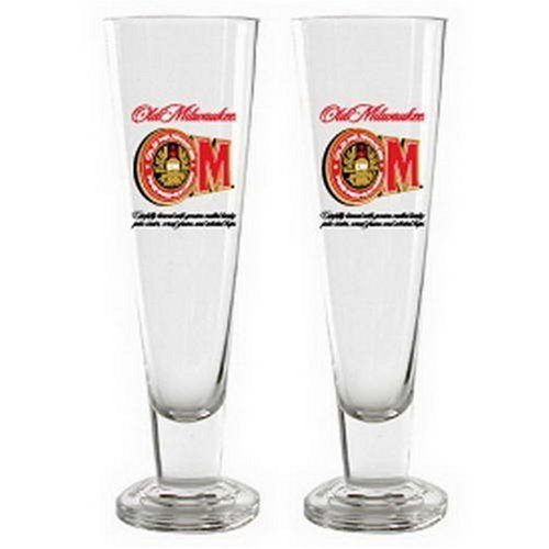 Old Milwaukee Beer Tall Pilsner Glass Officially Licensed, Set of 2 by BigKitchen -