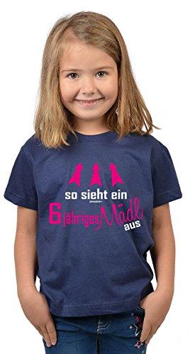 rtstag 6 Jahre alt T-Shirt Geschenk Idee Kindergeburtstag Shirt Kindershirt so Sieht EIN 6 jähriges Mädl aus 6 Geburtstagsgeschenk Mädel Kinder zur Einschulung in blau S : ()
