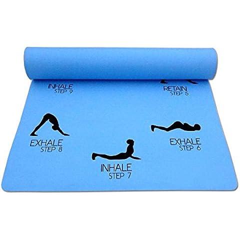 Saludo al Sol Yoga Mat 3 mm Espesor antipatinaje con la correa de primera calidad 24 x 72 pulgadas