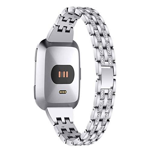 Happy Event Armband Kompatibel Für Fitbit Versa Uhr, Kristall Metall r Einstellbare Ersatzgurte Fitness-Armband