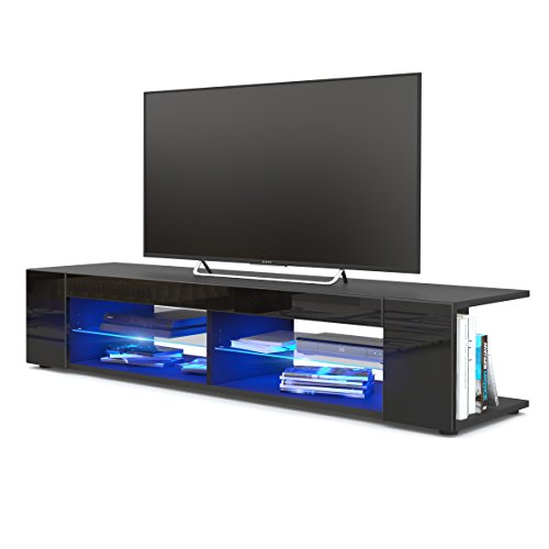 TV Board Lowboard Movie, Korpus in Schwarz matt/Fronten in Schwarz Hochglanz inkl. LED Beleuchtung in Blau Schwarz Tv