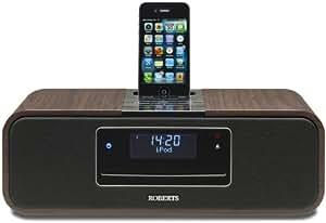 Roberts DAB+ Soundsystem mit CD-Player und Apple iPod-Dock schwarz mit Holzoptik