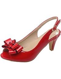 Coolulu Damen Peeptoe High Heels Slingback Sandalen mit Schleife und  Riemchen 7cm Absatz Sommor Schuhe ae4702e5a4