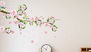 Solimo Wall Sticker for Bedroom (Blushing Blossoms,  ideal size on wall: 145 cm x 80 cm)