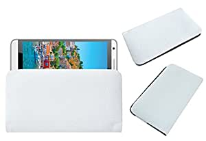 Acm Rich Leather Soft Case For Intex Cloud M6 Mobile Handpouch Cover Carry White