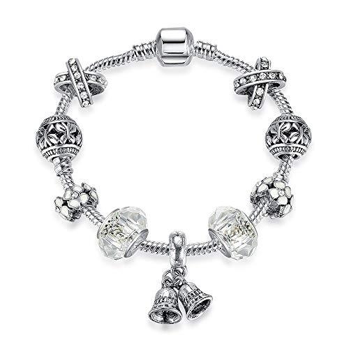 Yisj armband Geschenk Silber Jingle Bell Charm Armbänder Armreifen für Frauen Mit Murano Glas Kristall Perle Freundschaftsarmband Schmuck 20 cm