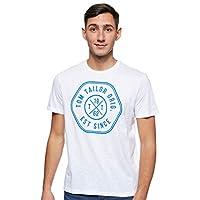 Tom Tailor Men's Slub with Print Regular Crew Neck Short Sleeve T-Shirt, White (White), Large