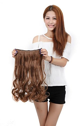 "Artifice 5 Clips Curly/Wavy Hair Extension High Temperature Synthetic Fiber 22"" 70g Light Brown"