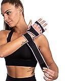 SINOVATI® Fitness Handschuhe,Trainingshandschuhe,Gewichtheben Handschuhe für Bodybuilding, Crossfit, mit Handgelenkbandage Damen/Herren (Pink, XS)