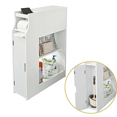SoBuy® Badregal, Badezimmerschrank,Nischenregal, Standschrank, Seitenschrank, FRG52-W