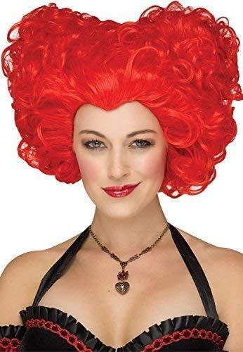 Fancy Me Damen Rote Königin der Herzen Iracebeth Cosplay Karneval Konvention Kostüm Kleid Outfit Zubehör - Königin Der Herzen Kostüm Perücke
