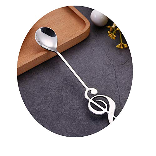 Ablaze Jin Stainless Steel Coffee Spoon Sugar Stirring Spoon Musical Note Handle Ice Cream Dessert Spoon Flatware Silver Gold Tableware,Silver