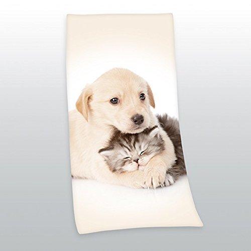 Duschtuch Badetuch Handtuch Strandtuch Velourstuch Hund und Katze 75 x 150cm