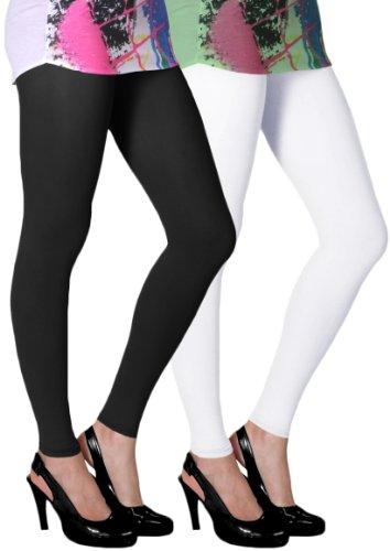 Slassy Women's Ankle Length Leggings Pack Of 2 (Black, White_Large)  available at amazon for Rs.449