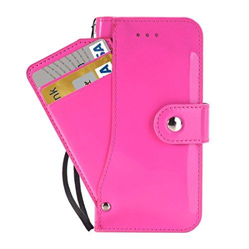 Phone case & Hülle Für iPhone 6 Plus, Horizontale Flip TPU + PU Ledertasche mit Halter & Card Slots & Wallet ( Color : Gold ) Magenta