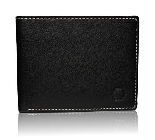 Schwarz Stein RFID Herren Geldbörse aus echtem Büffel-Leder - stilvoller & sicherer Männer Geldbeutel Dank Diebstahlschutz (Schwarz) -