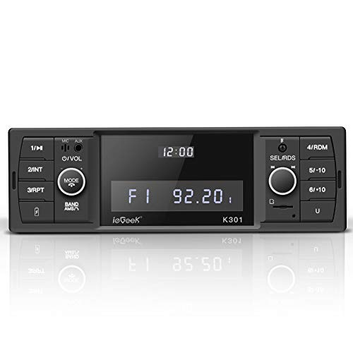ieGeek Autoradio mit Bluetooth Freisprecheinrichtung, RDS/FM/AM Radio Tuner 1 Din, USB/MP3/WMA/WAV/TF-Media Player + Fernbedienung, Single Din Universal Autoradio