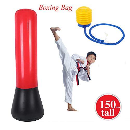 GOTOTOP Sacco da Boxe Gonfiabile da Terra, Sacco da Boxe da Pavimento per Allenamento Arti Marziali Karate Boxing Punching Altezza, 150cm