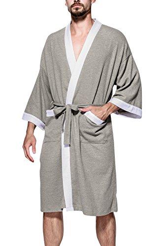 Dolamen Unisex Damen Herren Morgenmantel Bademäntel, Weich u. Leicht Baumwolle Waffelpique Nachtwäsche Nachthemd Robe Negligee locker Schlafanzug, für Spa Hotel Sauna (Large/ EU M, Grau II) (Damen-lang-spa-robe)