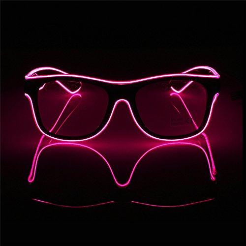 Wire-pink Led (Leuchtende Brille OMOUP EL Wire Leuchtbrille Leuchten LED Leucht Sonnenbrille Partybrille mit Batterie Box für Party Weihnachtsfeiern Halloween (Pink))