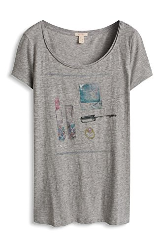 Esprit 056ee1k027-Printed, T-Shirt Femme Gris (LIGHT GREY 5 044)