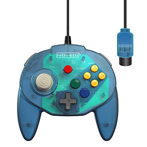 Retro-Bit Tribute 64 Controller für Nintendo 64, kabelgebunden, Ozeanblau (64 Controller Pak)