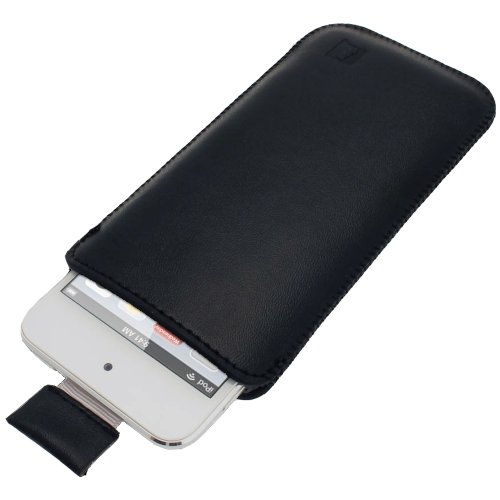 iGadgitz U2046 Leder Hülle Etui und Schutzfolie Kompatibel mit Apple iPod Touch 5/6/7th Gen -Schwarz