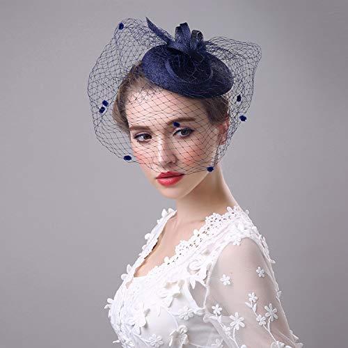 YANGLAN Fascinator Hut Haarnadel, Braut Leinen Gaze Hut, Geheimnisvolle Schleier Kopfbedeckung, Western Bankett Damen Stirnband
