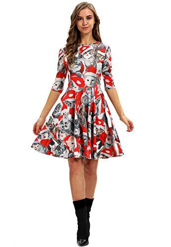 ten Halloween A-Linie Weihnachtskleid Printing Partykleid Swing Kleider Weihnachts Frauen Kleidung BGE-012 L ()