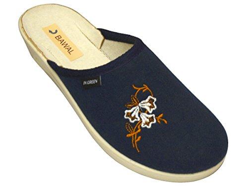 Damen Pantolette Sandalen Komfort Baumwolle Hausschuhe Pantoffeln Arbeit Modell BD72 Blau