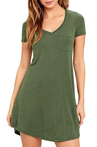 Eanklosco Damen Beiläufig Kleid V-Ausschnitt Kurze Ärmel T-Shirt Kleid mit Taschen (S, A-Grün) - Kurz V-ausschnitt Kleid