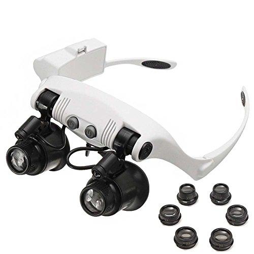 QZY 2 LED-Licht Lesen Lupe Stirnband, Acht Optische Linse Lupen, Spezielle Platine Service Diamond Schmuck Identifizierung