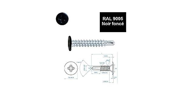 Vis autoperceuses 4,2x14 mm RAL 9005 noir fonc/é t/ête extra plate Ph par 100