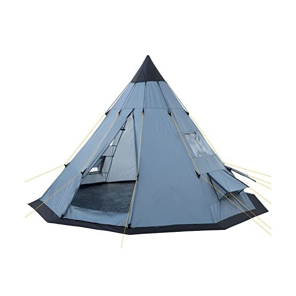 CampFeuer® - Tipi Teepee - Tent, grey/blue 1