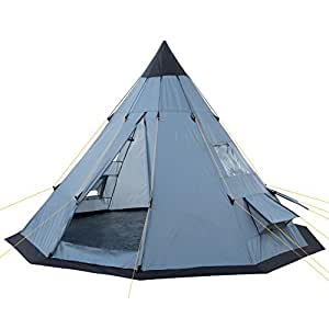 campfeuer tipi teepee tent grey blue sports outdoors. Black Bedroom Furniture Sets. Home Design Ideas