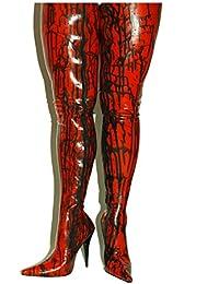 Fashion Style Bolingier Poland - Botas de Caucho para Mujer Rojo/Negro