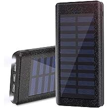 Batería Externa Power Bank 24000mAh , Cargador Solar de Wiswan con puerto de alta velocidad, 2 LED ligeros, Total 5A Puertos de carga USB para iPhone, iPad, ...