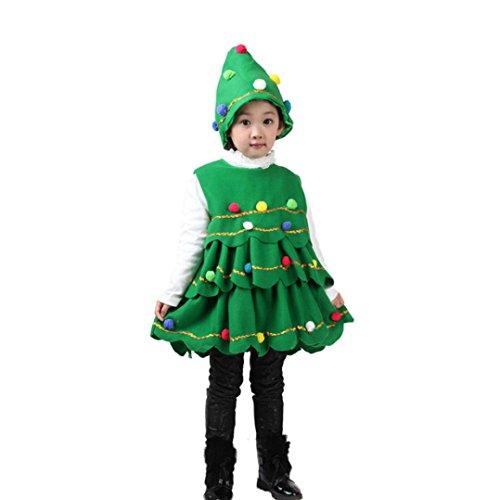 Mädchen Weihnachten Baum Plüschball Ärmellos Kostüm Kleid Tops Party Weste kleid + Hut Outfits(3T,A-Grün) (Comic Kostüm Hoodies)