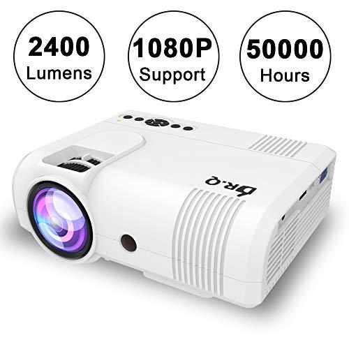 DR.Q 2400 Lumen Proyector, mini Proyector, 50000 Horas, Proyector de Vídeo compatible con 1080P, Conexión con dispositivo de TV Stick HDMI VGA USB, con HDMI y Cable AV, Blanco.