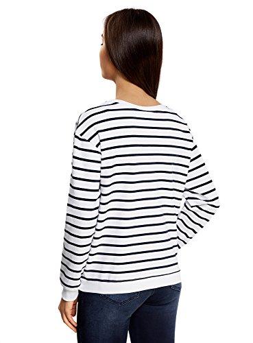 oodji Ultra Damen Lässiges Sweatshirt mit Streifen Weiß (1079S)
