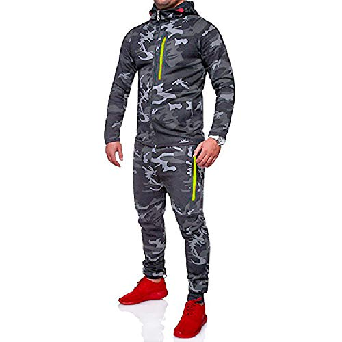 UJUNAOR Herren Männer Herbst Winter Camouflage Sweatshirt Top Hosen Sets Jogginganzug Set Army Sportanzug Trainingsanzug(Dunkelgrau,EU L/CN 2XL)