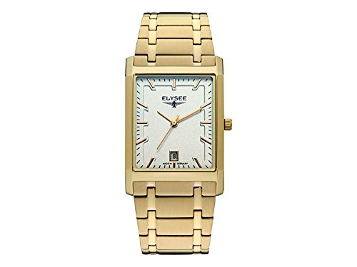 ELYSEE Men's Square Gold-Tone Steel Bracelet Gold Plated Case Quartz Silver-Tone Dial Analog Watch 83812