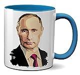 PAPAYANA - 1018 - Putin-Portrait - Beidseitig Bedruckte Tasse 325ml 11oz - Große Farbauswahl - Hellblau
