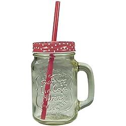 Jocca Mason Jar Becher mit Trinkhalm, transparent/rot, 430ml
