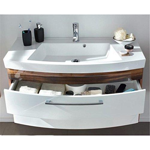 Badezimmer Badmöbelset Rom Hochgl. weiß/Walnuss-Nb. 6tlg. mit geraden fronten Hängeschrank,