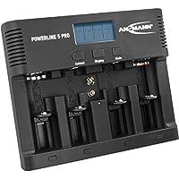 ANSMANN Akku-Ladegerät für 4x AA/AAA/C/D + 1x 9V-Block NiMH Akkus - Batterieladegerät mit 5 Ladeprogrammen: Laden, Entladen, Testen, Refresh, Schnellladen + USB - Powerline 5 Pro Akkupflegestation