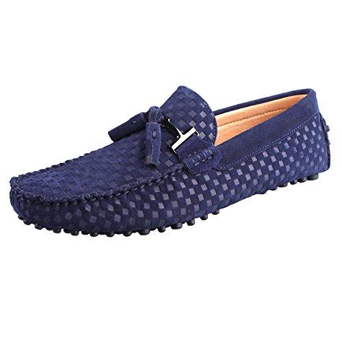 Santimon Mocassins en daim Hommes Suédine Cuir Bateau Chaussures Tissé Gland Pendentif Bleu Marine