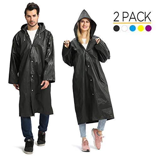 Opret Raincoats for Adults, Reusable Waterproof Rain Poncho Emergency Rain Coat with Hood and Sleeves, Lightweight EVA Rainwear, 2 Pack