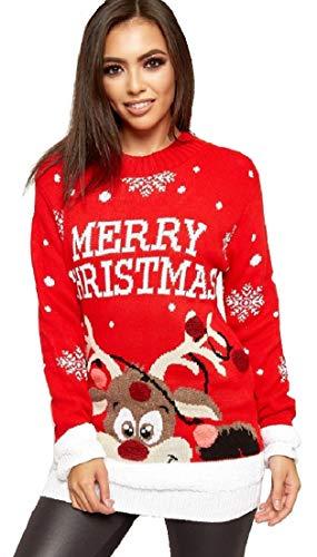 Crazy Girls Verrückte Mädchen Frauen Festliche Neuheit Frohe Weihnachten Gestrickte Pullover Damen Weihnachtsbaum Vintage Warme POM POM Rentier Jumper EU 36-54 (Rot-Pom Pom Merry Christmas, S/M)
