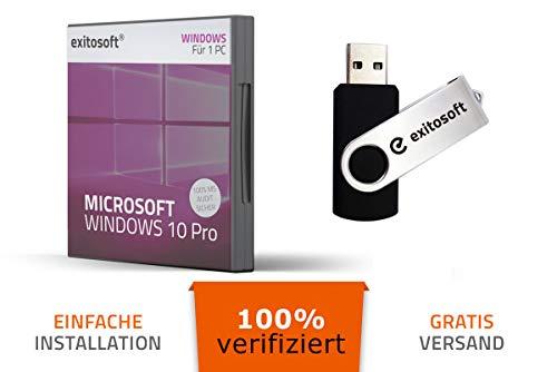 Microsoft Windows 10 Professional PRO - 32/64Bit - Deutsch - 100{fb00365bb68d961c55faad6e99c67785227d5c9d4c8fe80521d90277af207667} verifiziert deutsche Ware - USB-Stick von EXITOSOFT - bootfähig - mit AUDIT Zertifikat